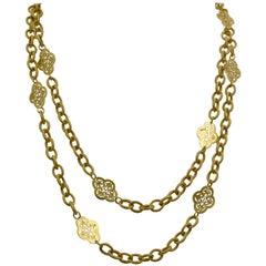 14K Italian Yellow Gold Textured Filigree Station Necklace