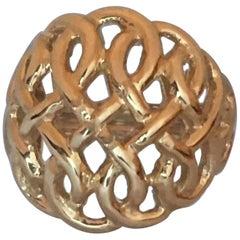 14 Karat Large Basket Dome Ring