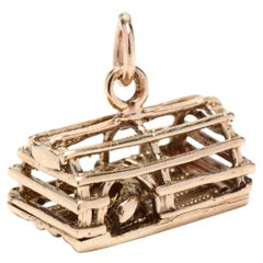 14K Lobster in a Cage Charm
