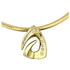 14 Karat Omega and Diamond Pendant Necklace
