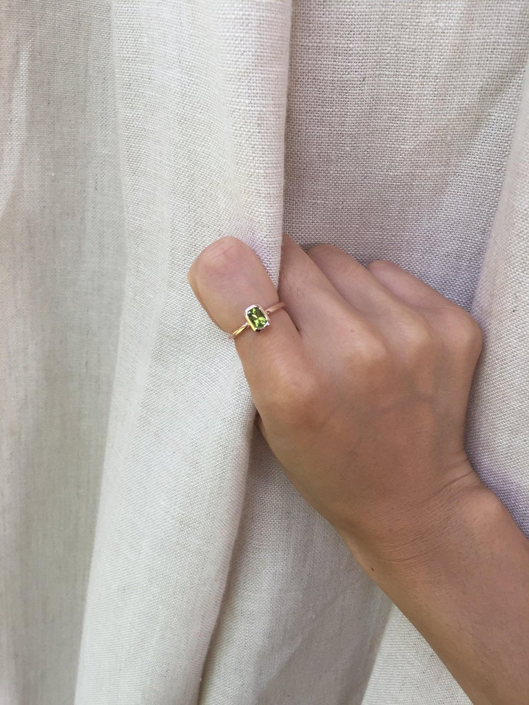 For Sale: undefined 14k Peridot Solitaire Ring, Emerald Cut Rose Gold Ring 3