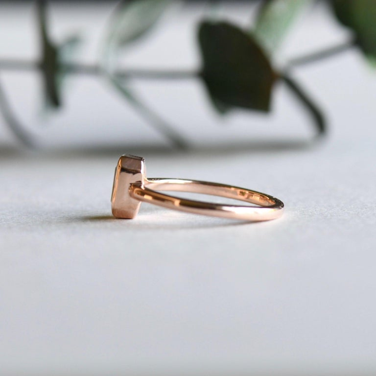 For Sale: undefined 14k Peridot Solitaire Ring, Emerald Cut Rose Gold Ring 4
