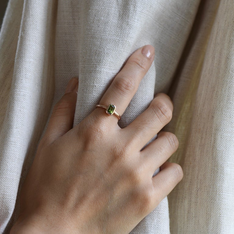 For Sale: undefined 14k Peridot Solitaire Ring, Emerald Cut Rose Gold Ring 5