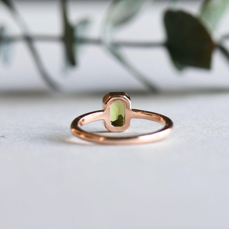 For Sale: undefined 14k Peridot Solitaire Ring, Emerald Cut Rose Gold Ring 6
