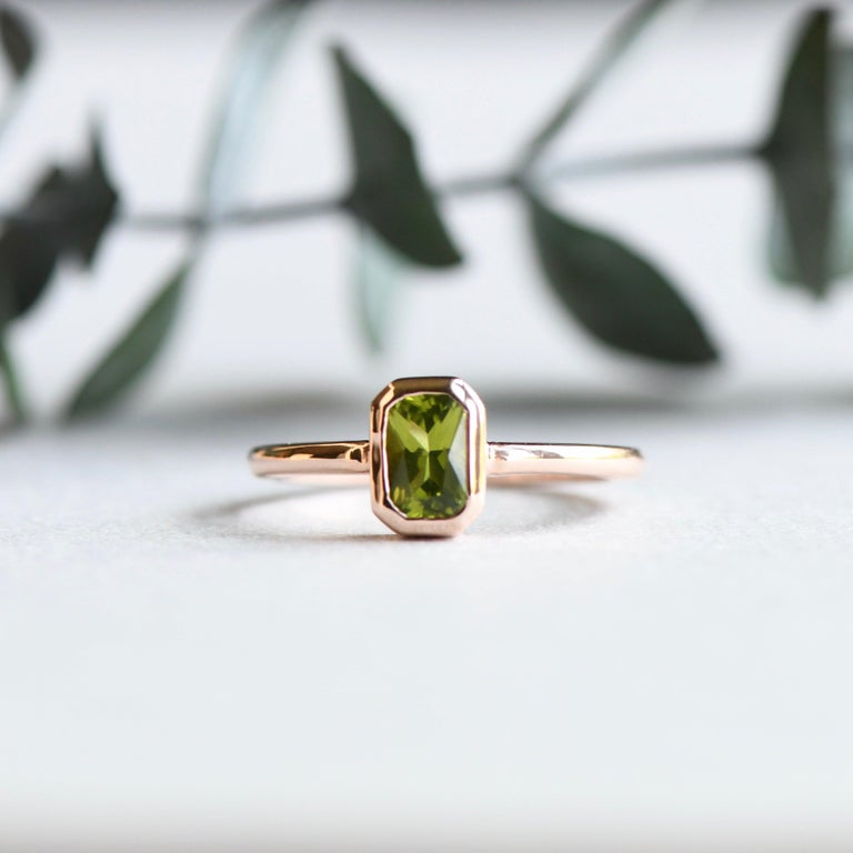 For Sale: undefined 14k Peridot Solitaire Ring, Emerald Cut Rose Gold Ring 8