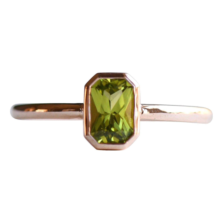 14k Peridot Solitaire Ring, Emerald Cut Rose Gold Ring