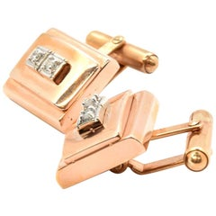 14 Karat Rose Gold 0.18 Carat Diamond Cufflinks, 19.40 Grams
