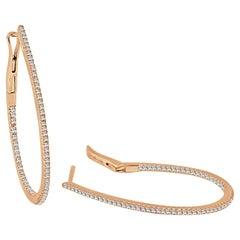 14 Karat Rose Gold 0.37 Carat Diamond Pear Shape Hoop Earrings