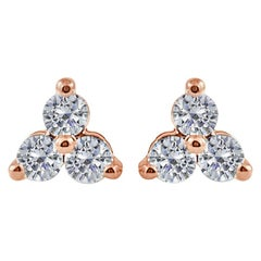 14 Karat Rose Gold 0.51 Carat Diamond 3-Stone Earrings