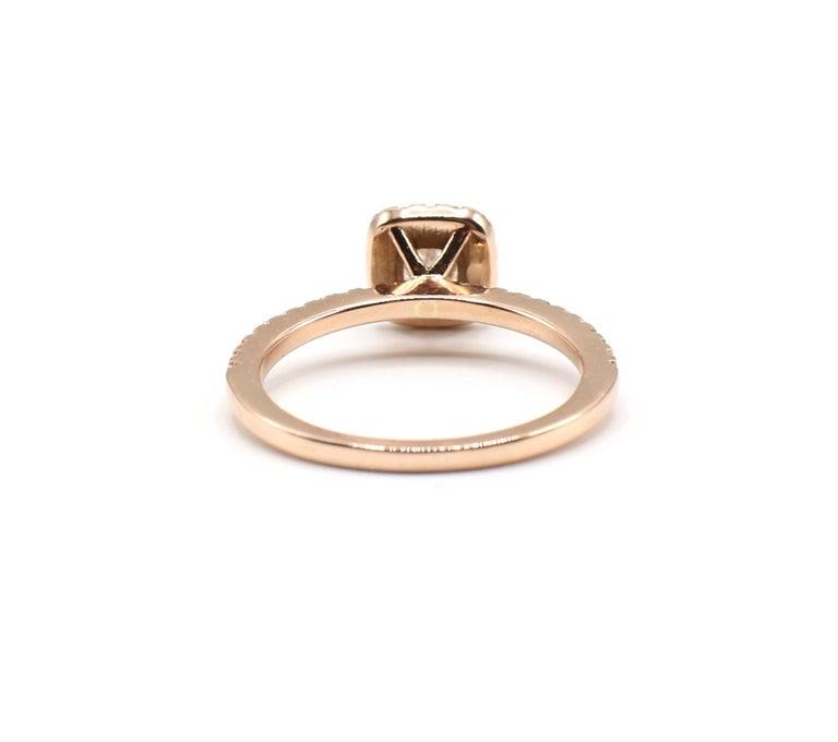 Cushion Cut 14 Karat Rose Gold 1/2 Carat Cushion Diamond Halo Engagement Ring For Sale