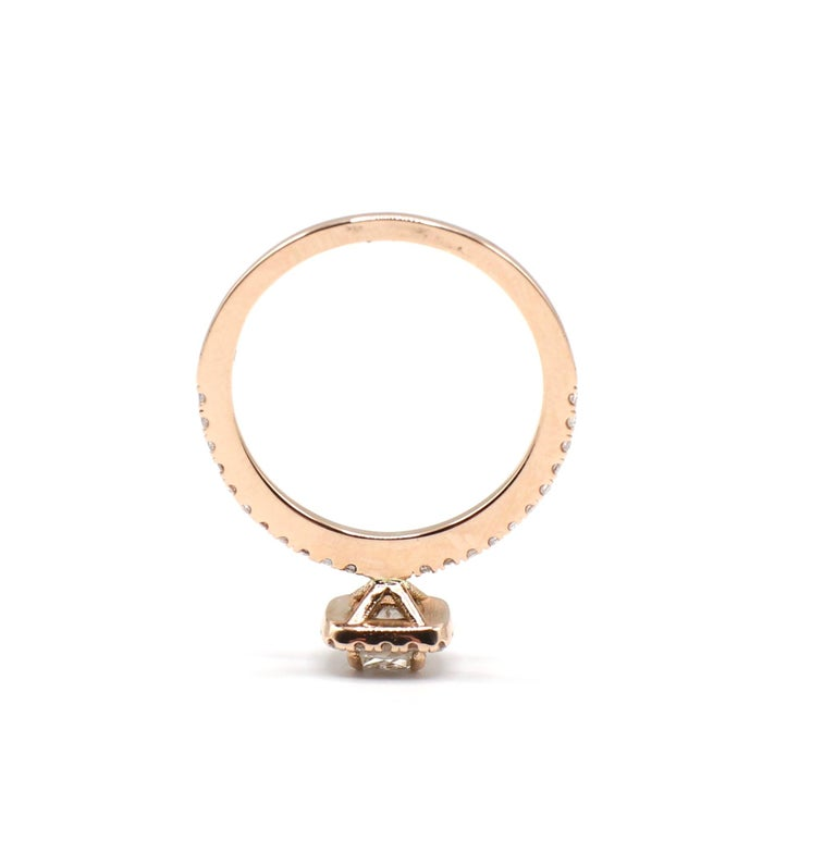 14 Karat Rose Gold 1/2 Carat Cushion Diamond Halo Engagement Ring In Excellent Condition For Sale In  Baltimore, MD