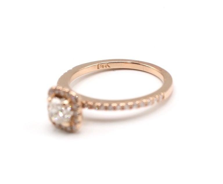 Women's 14 Karat Rose Gold 1/2 Carat Cushion Diamond Halo Engagement Ring For Sale