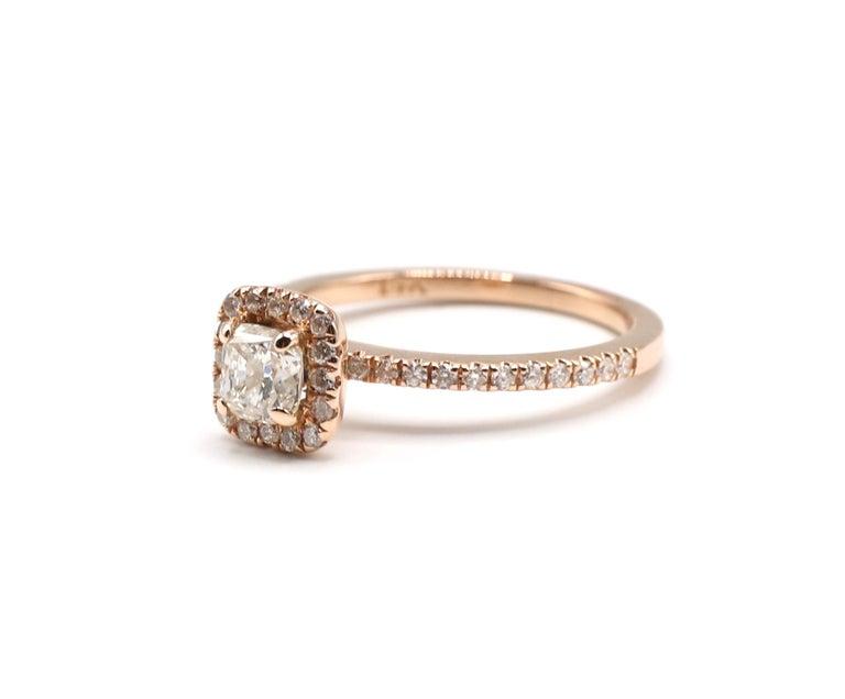 14 Karat Rose Gold 1/2 Carat Cushion Diamond Halo Engagement Ring For Sale 1