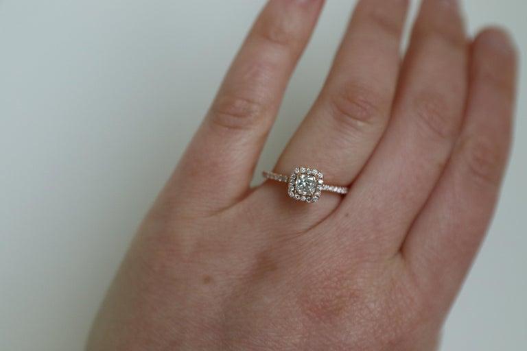 14 Karat Rose Gold 1/2 Carat Cushion Diamond Halo Engagement Ring For Sale 2