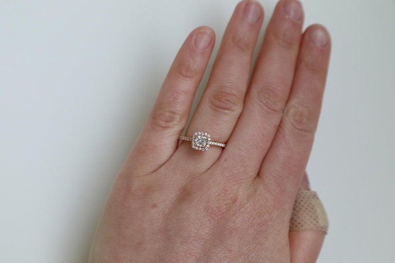 14 Karat Rose Gold 1/2 Carat Cushion Diamond Halo Engagement Ring For Sale 3