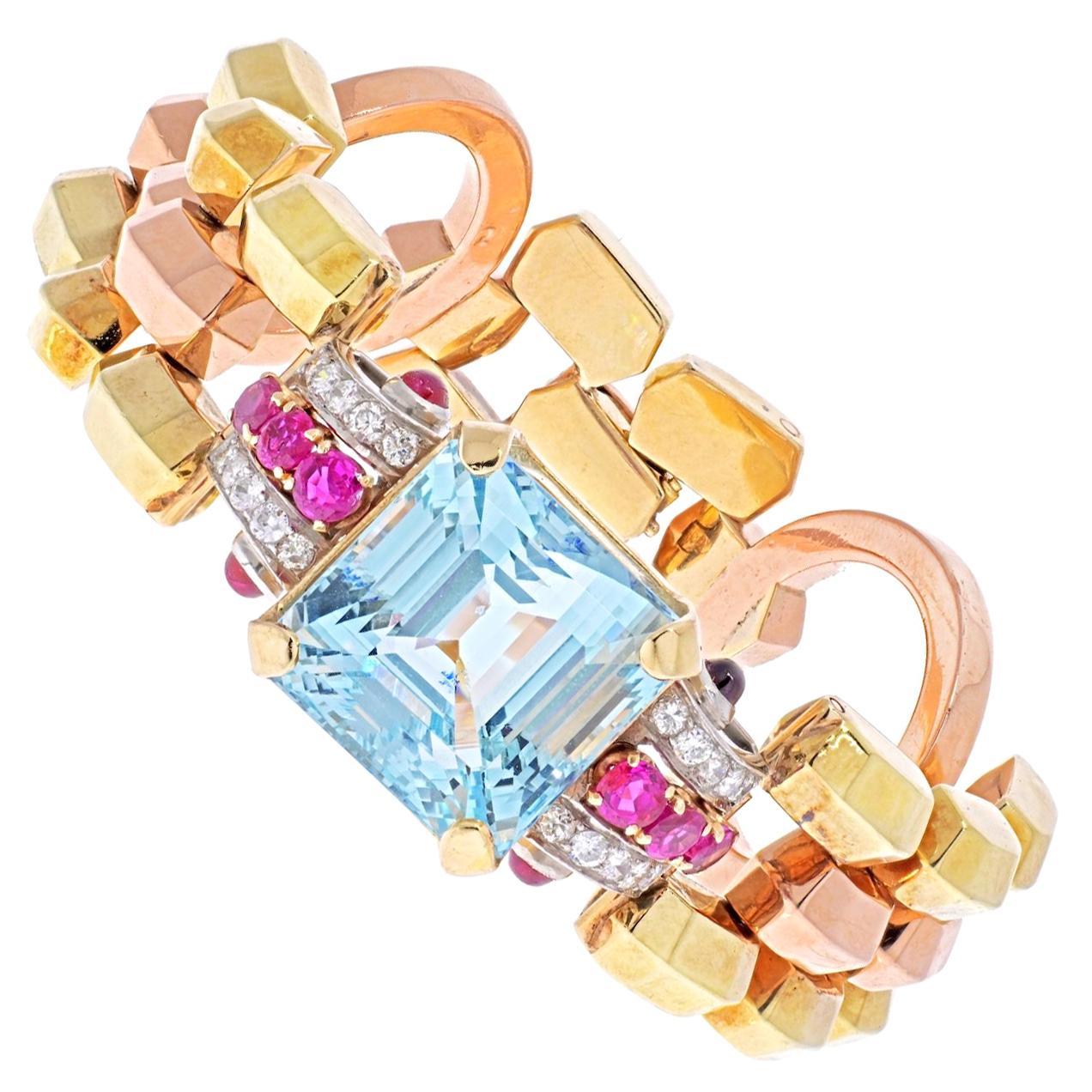 14K Rose Gold 1940's Retro Aquamarine, Diamond Link Bracelet