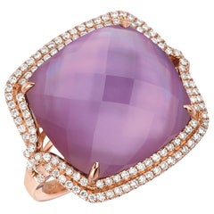 14K Rose Gold Cocktail Ring w/ Amethyst, Pink Mother of Pearl Doublet & Diamonds