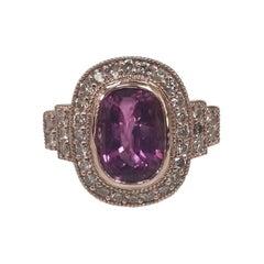 14k Rose Gold Cushion Cut Pink Tourmaline and Diamond Ring with Milgraining