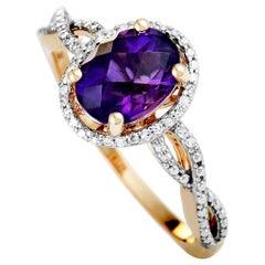 14 Karat Rose Gold Diamond and Amethyst Oval Ring
