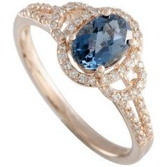 14 Karat Rose Gold Diamond and London Topaz Oval Ring