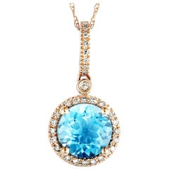 14 Karat Rose Gold Diamond and Topaz Round Pendant Necklace