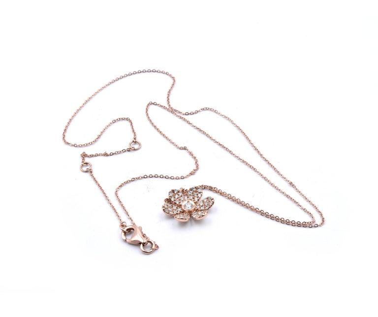 14 Karat Rose Gold Diamond Flower Necklace In Excellent Condition For Sale In Scottsdale, AZ