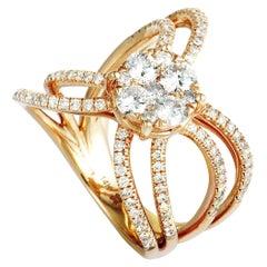 14 Karat Rose Gold Diamond Pave Round Ring