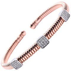 14 Karat Rose Gold Diamond Station Cuff Bracelet
