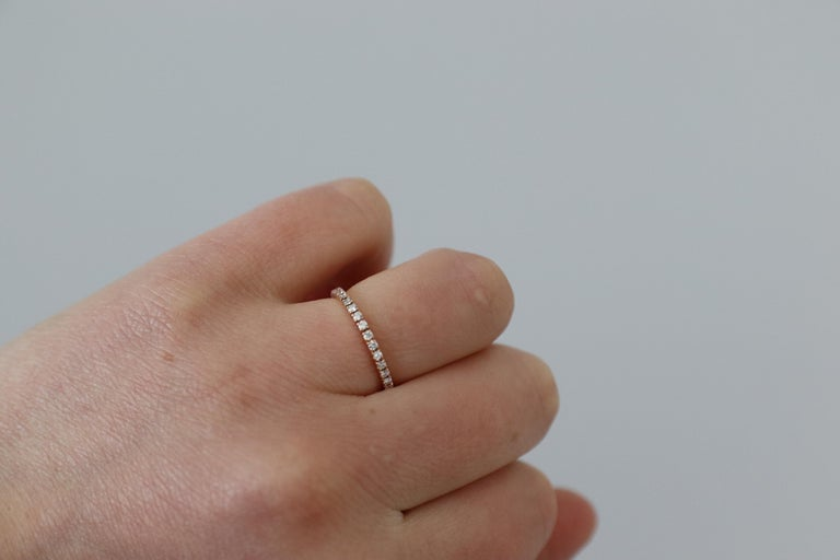 14 Karat Rose Gold Diamond Thin Eternity Band Stackable Ring For Sale 4