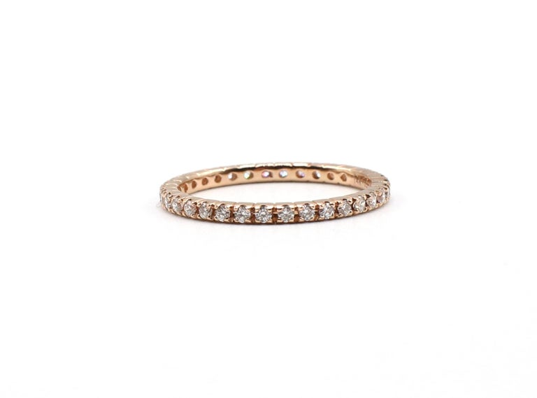 14K Rose Gold Diamond Thin Eternity Band Stackable Ring Size 5.75  Metal: 14k rose gold Weight: 1.24 grams Diamonds: 34 round brilliant cut diamonds, 0.393 CTW G VS Band is 1.5mm wide Stamped:
