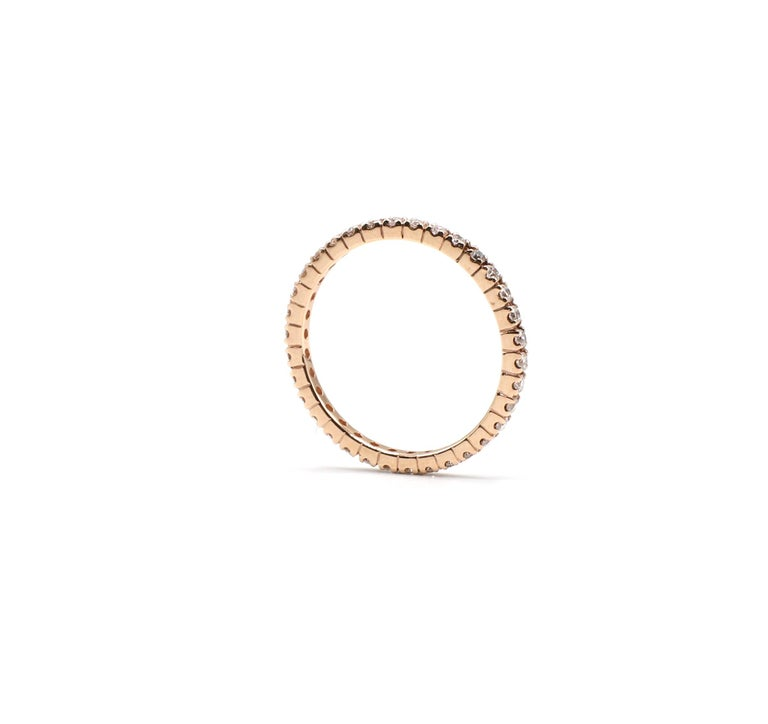 Contemporary 14 Karat Rose Gold Diamond Thin Eternity Band Stackable Ring For Sale