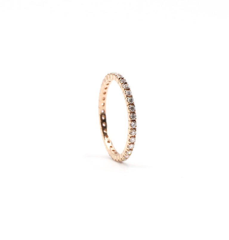 Round Cut 14 Karat Rose Gold Diamond Thin Eternity Band Stackable Ring For Sale