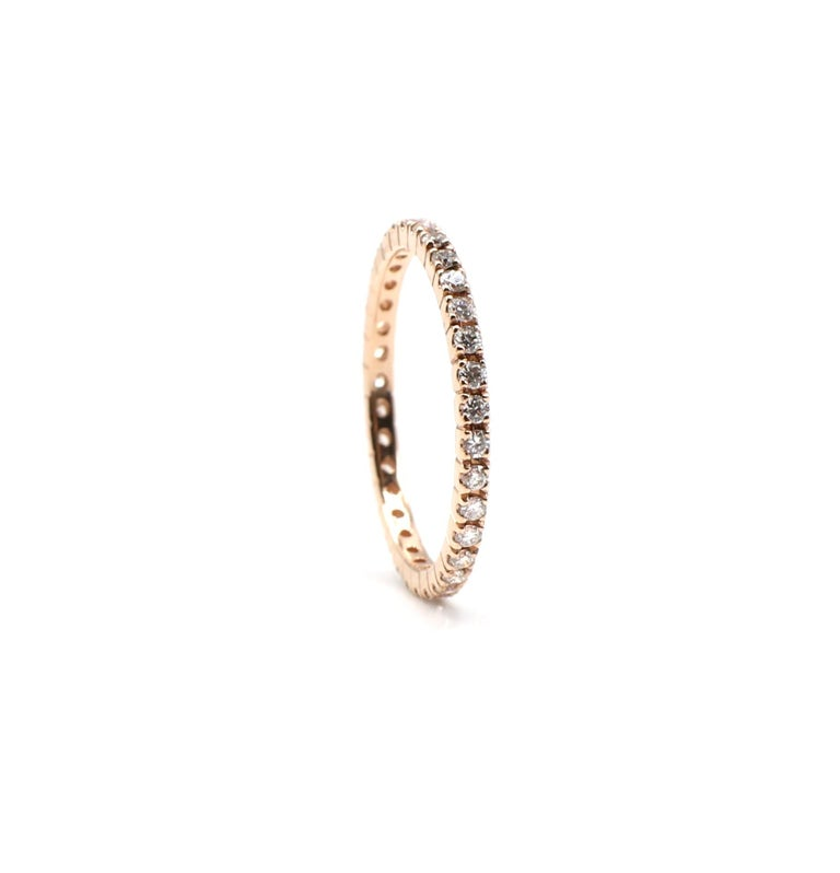 14 Karat Rose Gold Diamond Thin Eternity Band Stackable Ring In Excellent Condition For Sale In  Baltimore, MD