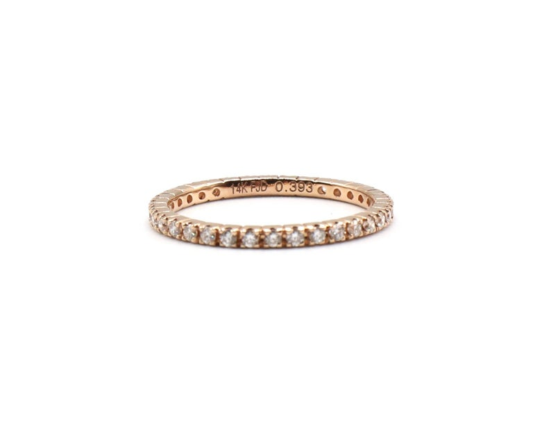 Women's 14 Karat Rose Gold Diamond Thin Eternity Band Stackable Ring For Sale