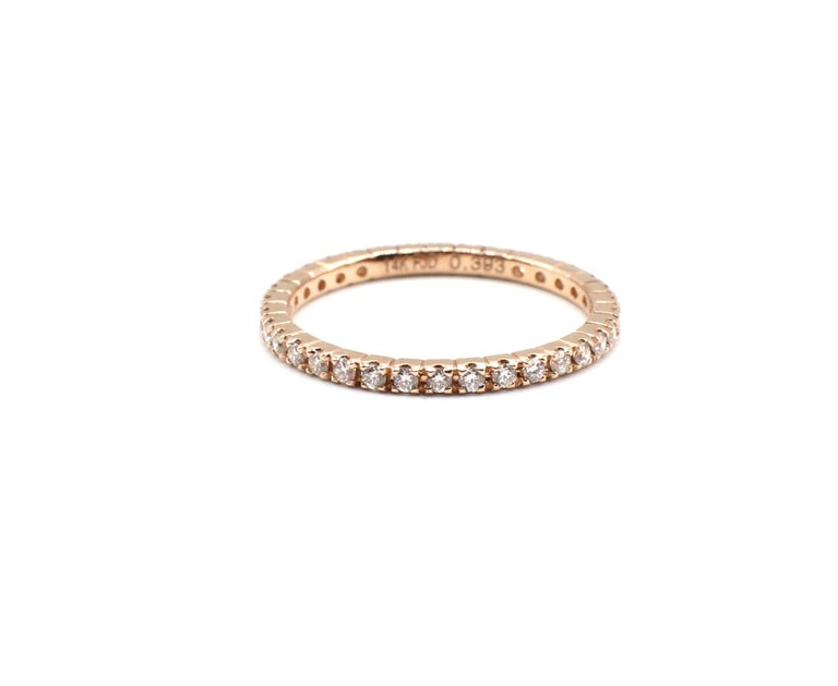 14 Karat Rose Gold Diamond Thin Eternity Band Stackable Ring For Sale 1