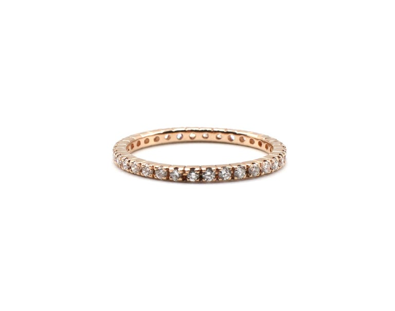14 Karat Rose Gold Diamond Thin Eternity Band Stackable Ring For Sale 2