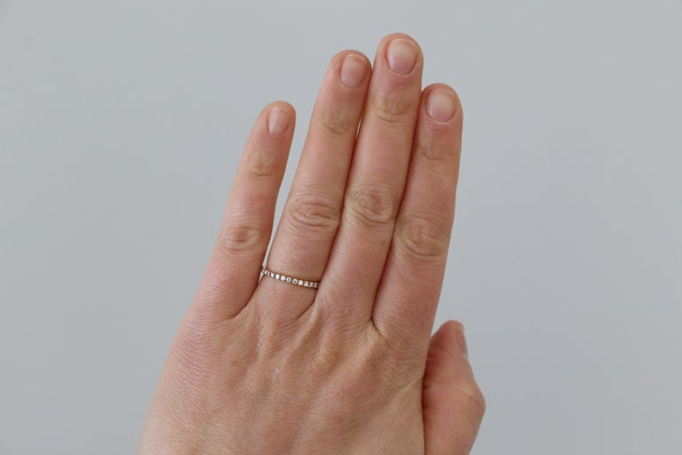 14 Karat Rose Gold Diamond Thin Eternity Band Stackable Ring For Sale 3
