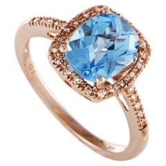 14 Karat Rose Gold Diamonds and Topaz Rectangle Cushion Ring