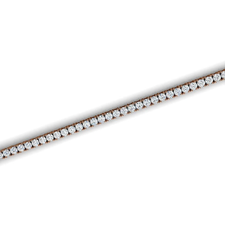 Round Cut 14 Karat Rose Gold Four Prongs Diamond Tennis Bracelet '3 Carat' For Sale