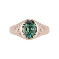 14k Rose Gold Green Tourmaline and Diamond Pinky Signet Ring