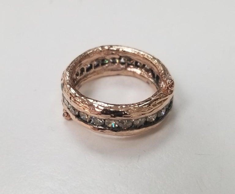 14k rose gold Gresha signature bark and diamond eternity ring containing 25 round full cut