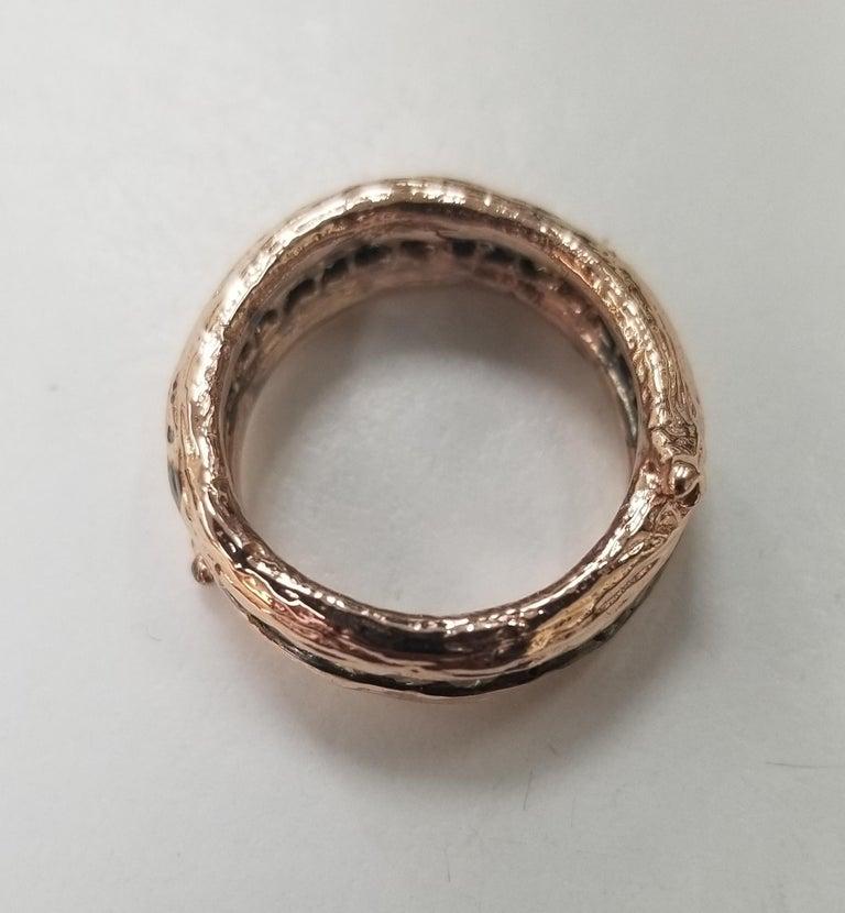 Artisan 14 Karat Rose Gold Gresha Signature Bark and Diamond Eternity Ring For Sale