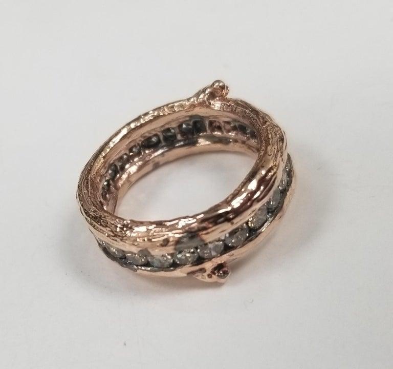 Round Cut 14 Karat Rose Gold Gresha Signature Bark and Diamond Eternity Ring For Sale