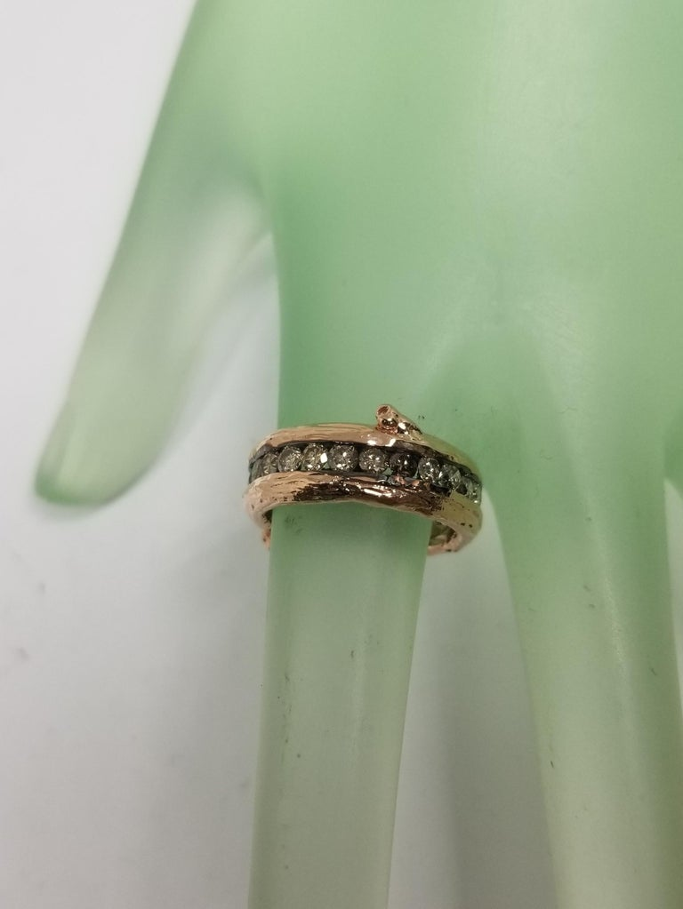 14 Karat Rose Gold Gresha Signature Bark and Diamond Eternity Ring In New Condition For Sale In Los Angeles, CA