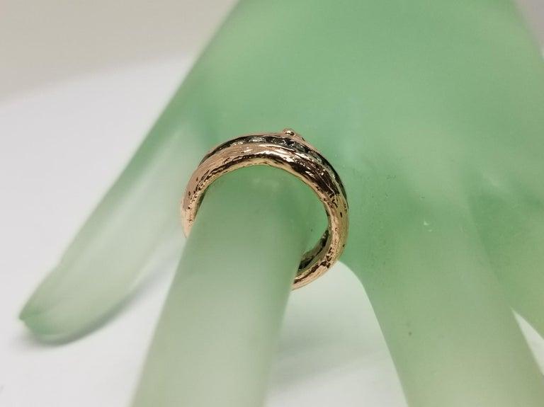 Women's or Men's 14 Karat Rose Gold Gresha Signature Bark and Diamond Eternity Ring For Sale