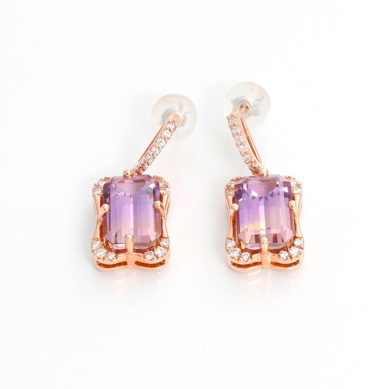 handmade imperial topaz Ametrine earrings in gold amethyst pearl earrings-OOAK post earrings