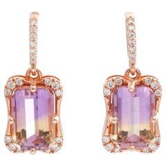 14 Karat Rose Gold Halo Ametrine Earrings