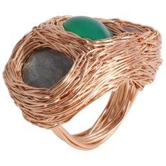 14k Rose Gold Labradorite Green Onyx Burgundy Mookaite Ring by Sheila Westera
