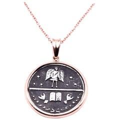 14 Karat Rose Gold Medallion Necklace
