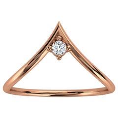 14K Rose Gold Minimalist Chevron Solitaire Diamond Ring 'Center - 0.07 Carat'